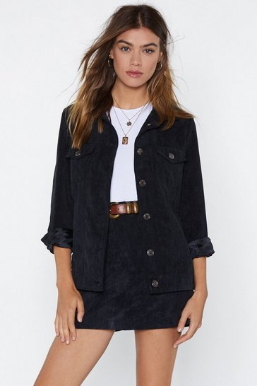 Black Corduroy Jacket with Button Closures at Front