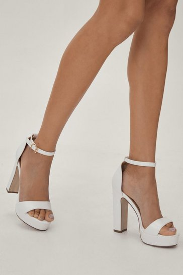 White On the Rise Platform Heel