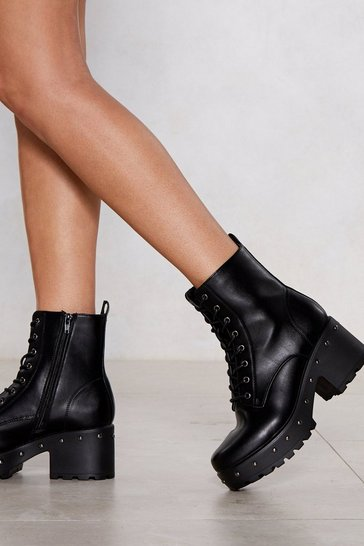 Womens Black Total Stud Chunky Boot