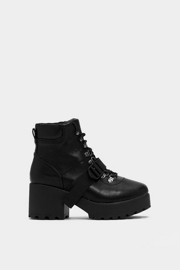 Black Faux Leather Strappy Block Heel Boots