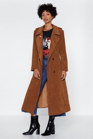Womens Brown Cover Ground Corduroy Trench Coat