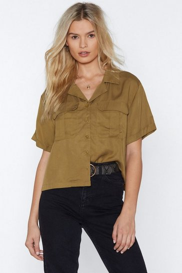 Womens Khaki Going on Safari Utility Shirt