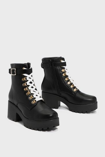 Black Faux Leather Lace Up Chunky Boots