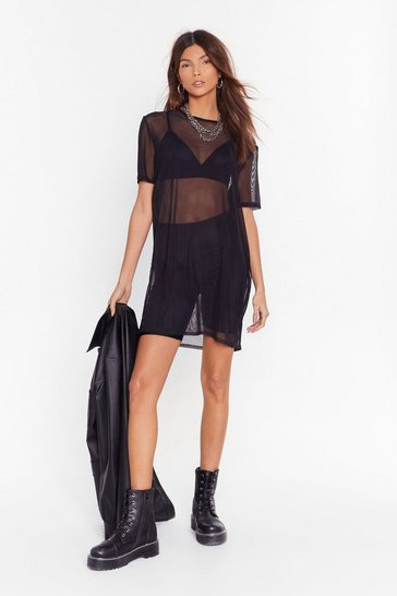 Black See Clearly Now Mesh Dress