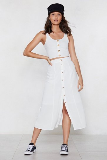 Womens White Always Button in Midi Skirt