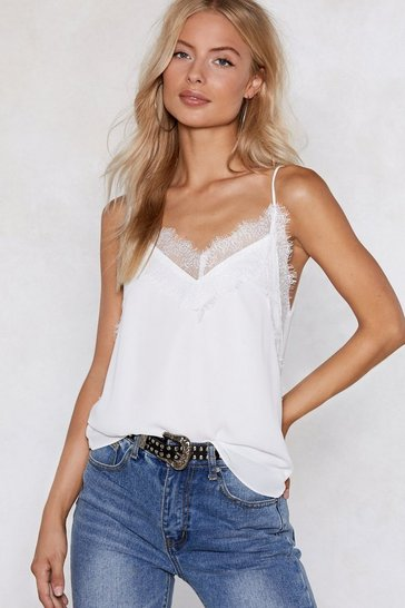 Womens White Lace the Consequences Cami Top