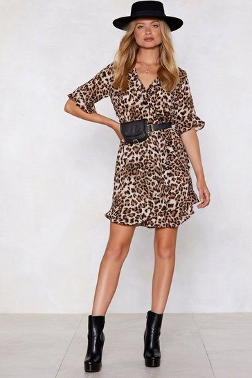 Brown Up to Scratch Leopard Dress