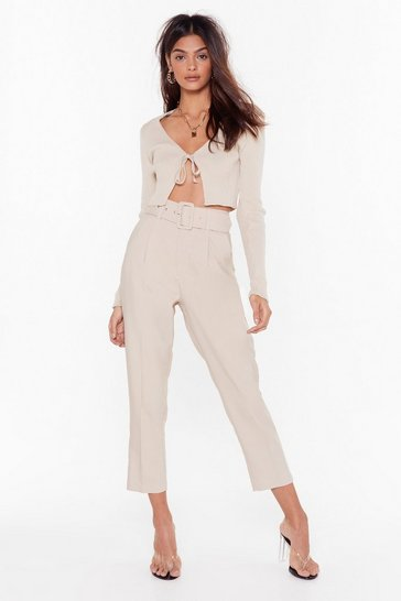Beige Cropped Belted Tailored Pants