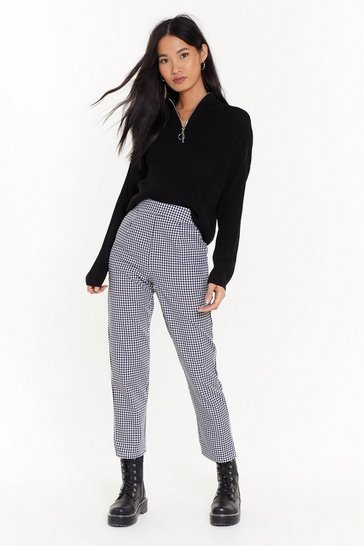Black Gingham High-Waisted Pants with Tailored Silhouette