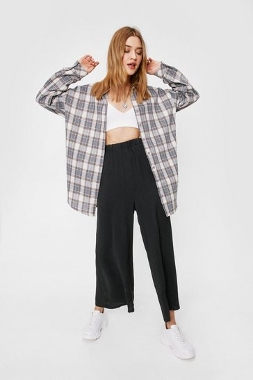 Black High Waisted Wide Leg Cropped Pants