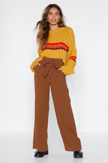 Womens Tobacco That's the Way High-Waisted Trousers