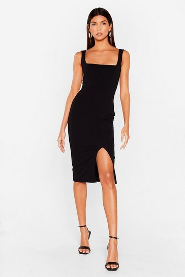 Black Squarin' to Go Midi Dress