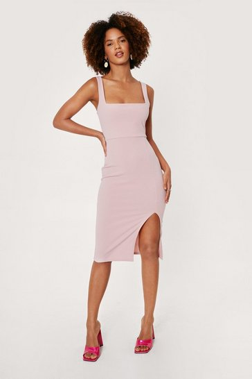 Dusty rose Squarin' to Go Midi Dress