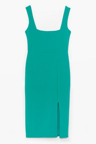 Jade Squarin' to Go Midi Dress