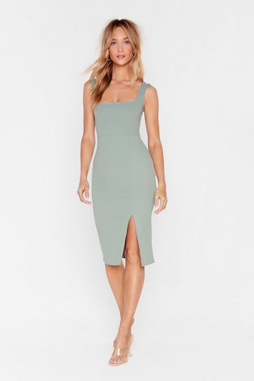 Dusty rose Square Neck Bodycon Slit Midi Dress