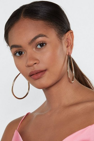 Womens Tear It Up Gold Plated Hoop Earrings
