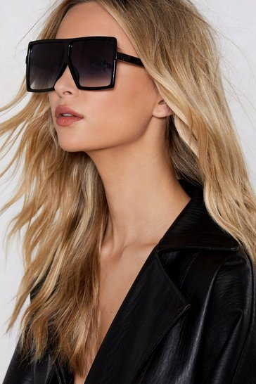 Womens Black I Know Square It's At Oversized Sunglasses