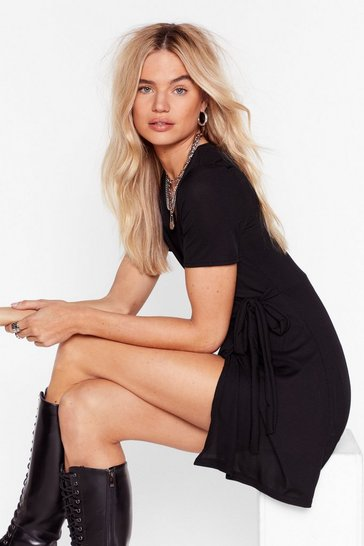 Black Wrap Mini Dress with V-Neckline