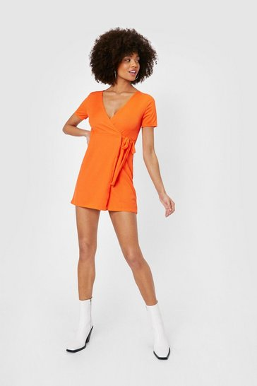 Orange Ribbed V Neck Mini Wrap Dress