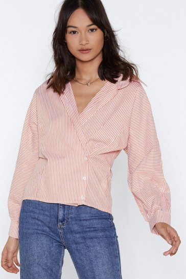 Womens Orange Shirt It Out Striped Shirt