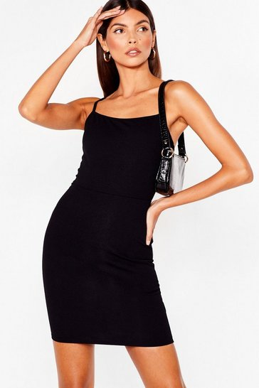 Black Square Neckline and Bodycon Mini Dress