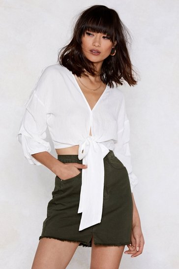 Womens White All Tied Up Ruched Blouse