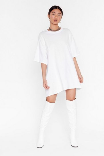 Womens White Easy Does It Tee Dress