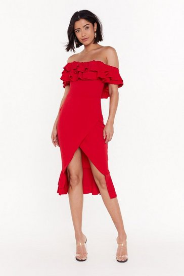 Red In the Evening Ruffle Dress