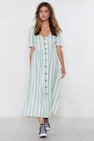 Womens Green Stripe the Floor With 'Em Midi Dress