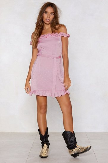 Womens Blush Grin and Bare It Polka Dot Dress