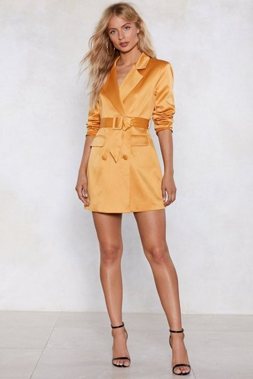 Womens Mustard Powers That Be Blazer Dress
