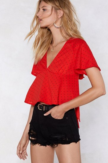Womens Red Float That Idea Polka Dot Blouse