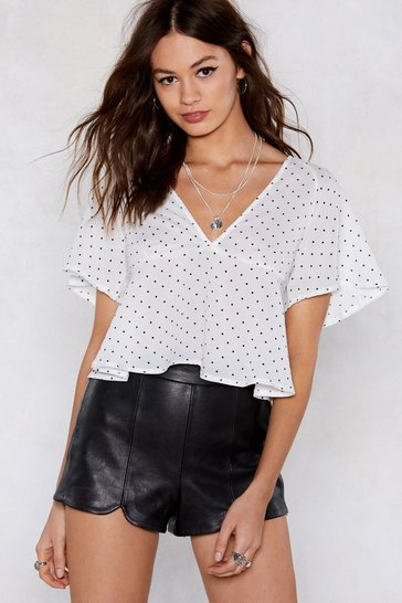 Womens White Float That Idea Polka Dot Blouse