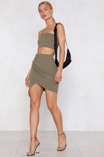 Khaki Bandeau Top And Mini Skirt Set