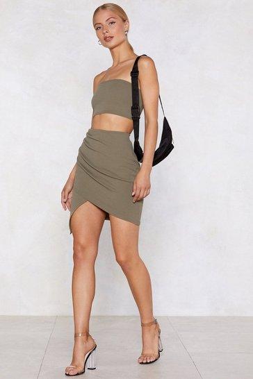 Khaki Wrap Star Bandeau Top and Skirt Set