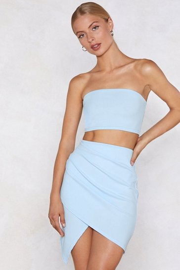 Pastel blue Wrap Star Bandeau Top and Skirt Set