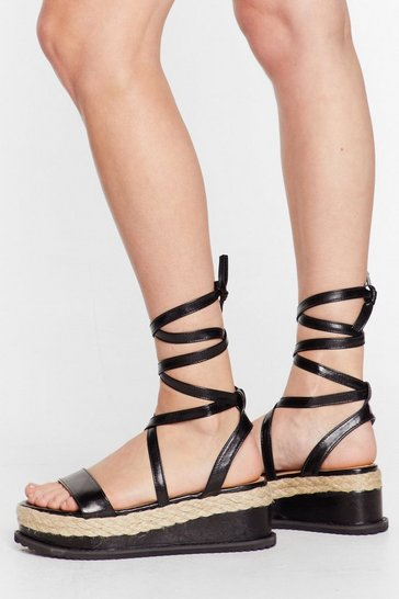 Black Never Fall Flat Platform Sandal