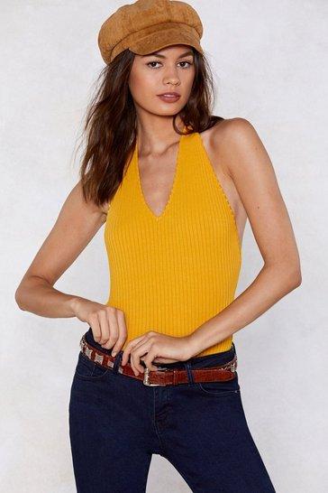 Mustard Go Deep Halter Bodysuit
