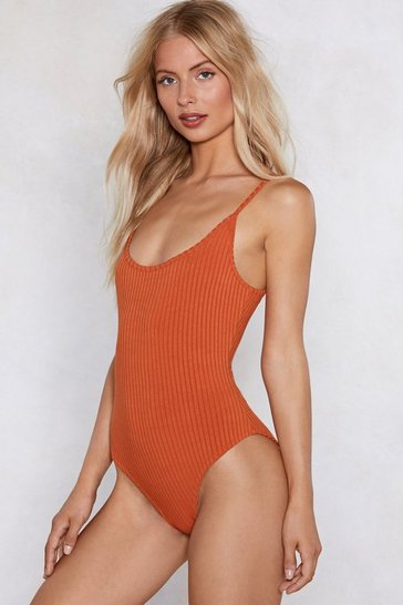 Rust All the Tight Reasons Ribbed Bodysuit