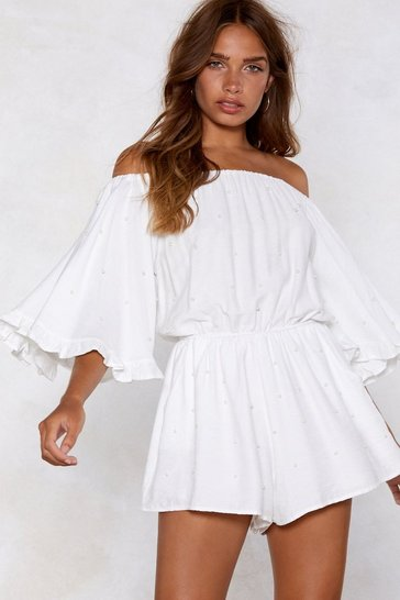 White Off-The-Shoulder Playsuit with Elasticized Neckline
