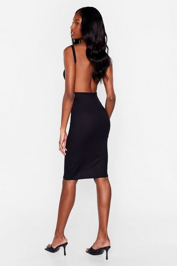 Black We're Going Out Tonight Ribbed Dress