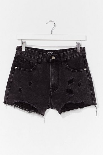 Washed black Distressed Hem Denim Shorts
