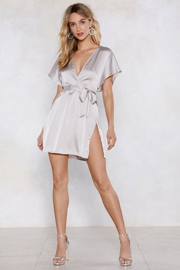 Grey Call in Slick Satin Dress