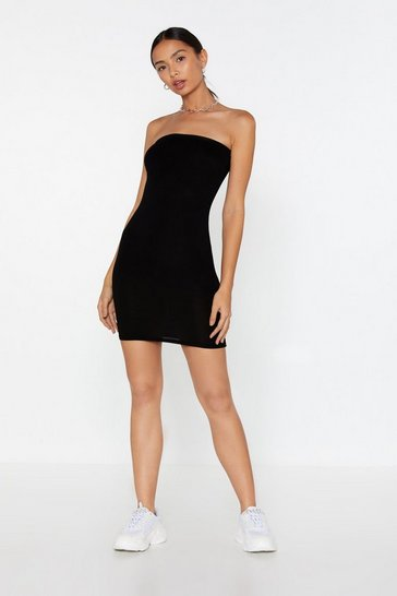 Womens Black Serve 'Em Curve Bandeau Dress