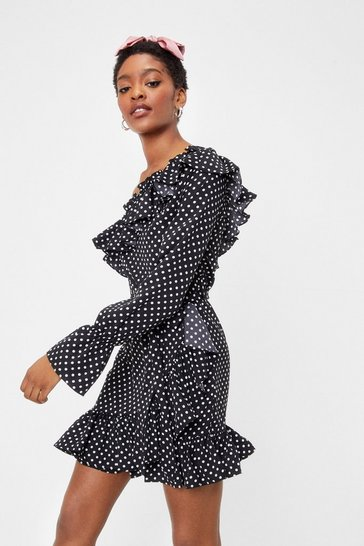 Black Polka Dot Ruffle One Sleeve Mini Dress