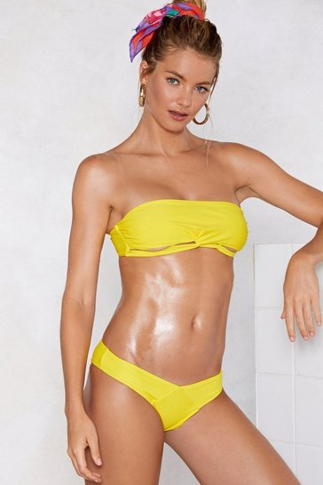 Womens Yellow It's a Shore Thing Bandeau Bikini Set
