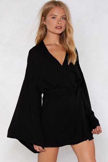 Womens Black Along for the Wide Wrap Dress
