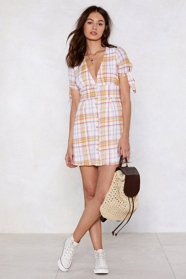 Womens White Wake Up Call Check Dress