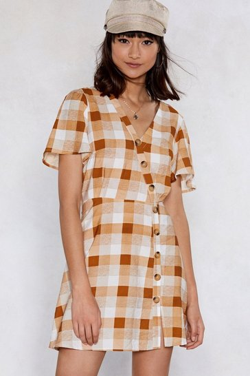 Womens Toffee Plaid You're Here Mini Dress