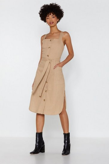 Womens Sand Lose Control Button-Down Dress